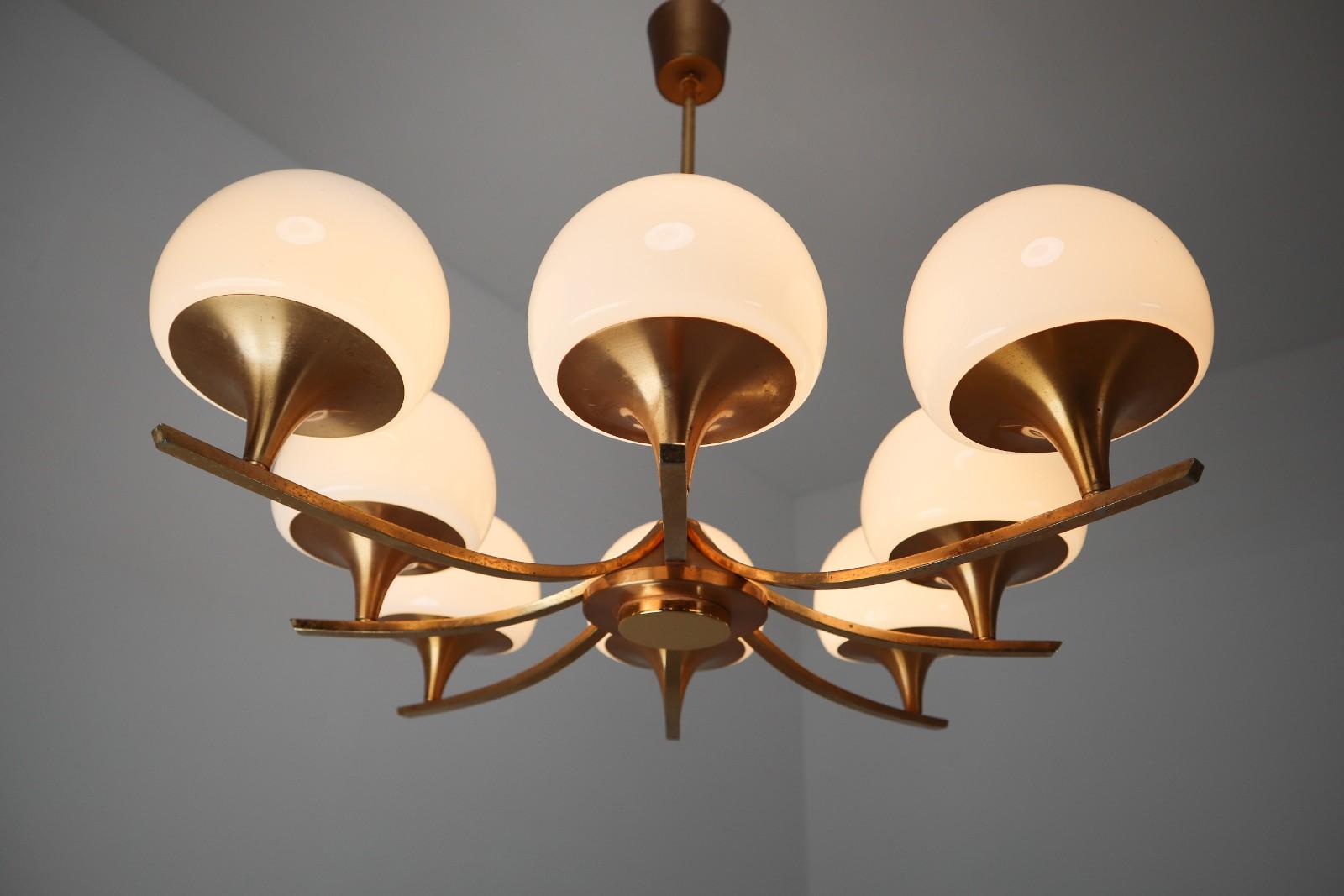 Elegant Mid Century Chandelier With 9 Opaline Glass Patinated Brass Frame Davidowski Recent Added Items European Antiques Decorative
