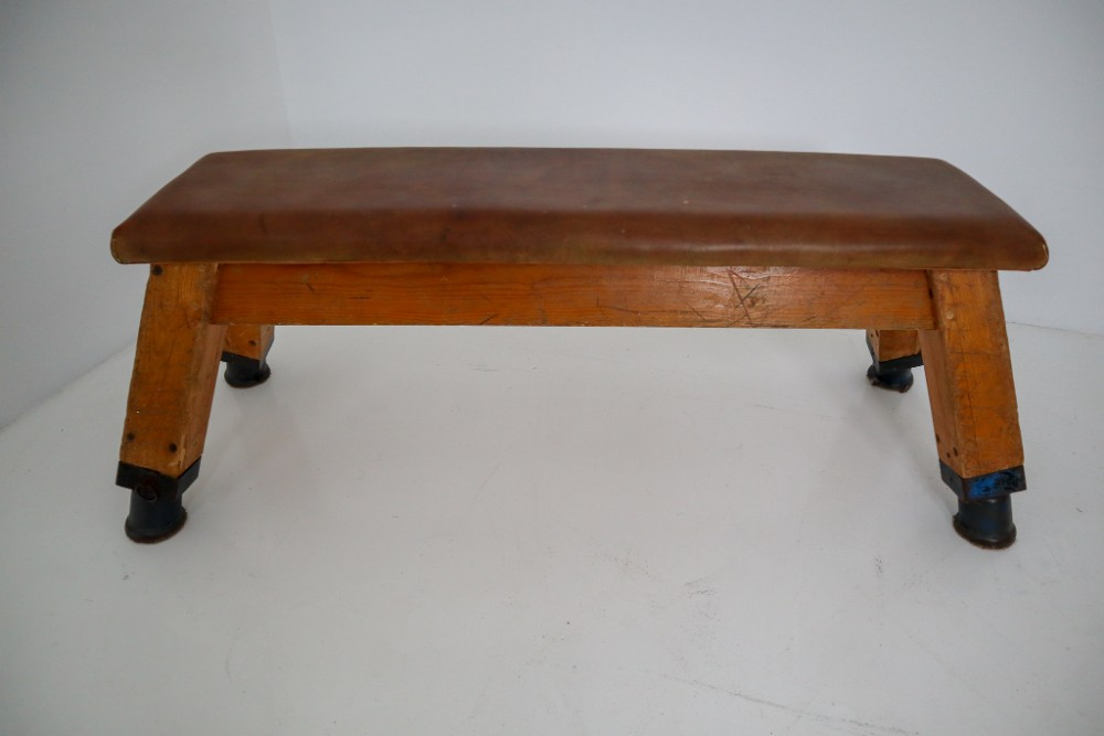 Outstanding European Vintage Patinated Leather Gym Bench Or Table Circa Theyellowbook Wood Chair Design Ideas Theyellowbookinfo