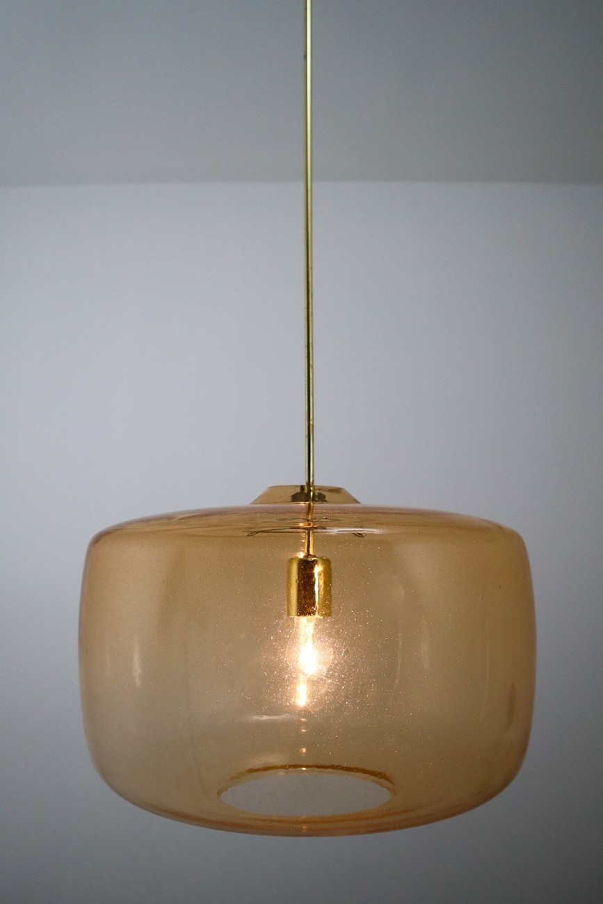 Mid Century Modern Glass Large Modern Pendants In Amber Hand Blown Colored Glass And Brass Europe 1970s Mid 20th Century Pendant Lights Search Items European Antiques Decorative