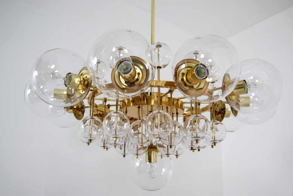 Mid Century Modern Large Hotel Chandelier With Brass Fixture