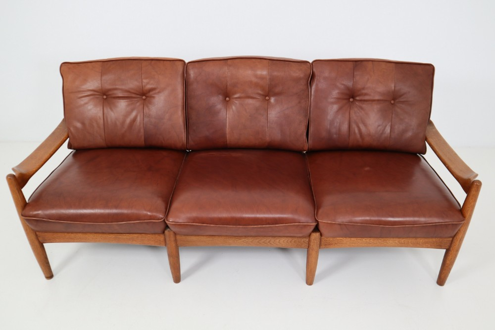 Mid century modern Leather Sofa Mid-20th century - Modernism ...