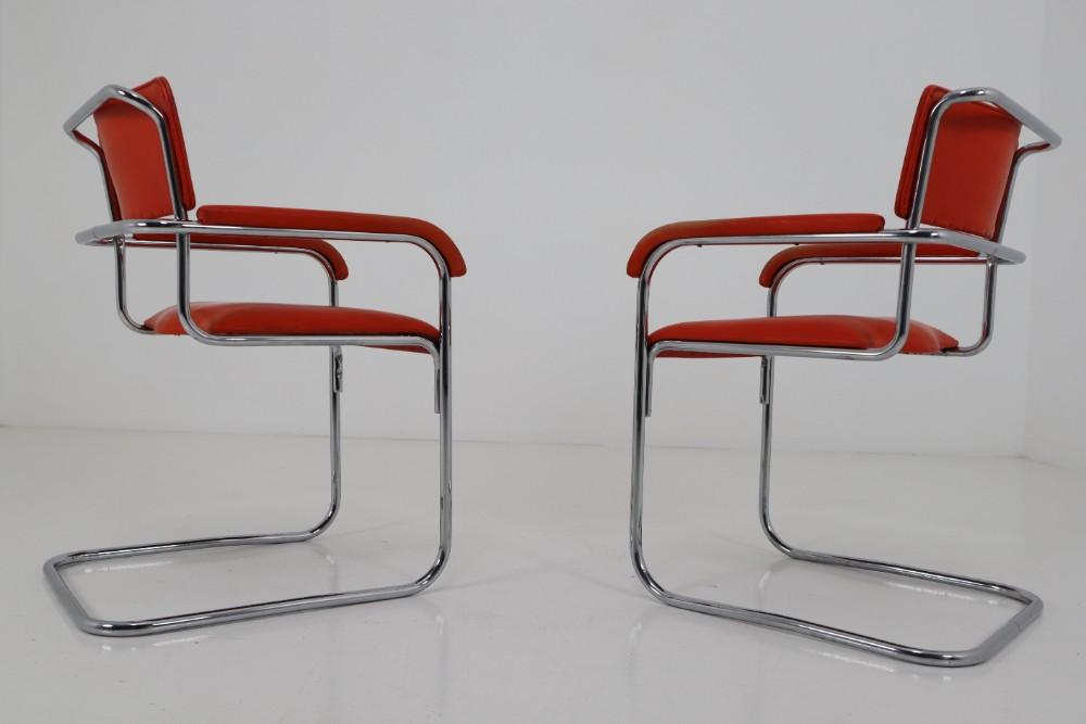 Orange Mid Century Modern Bauhaus Chrome Armchairs By Thonet