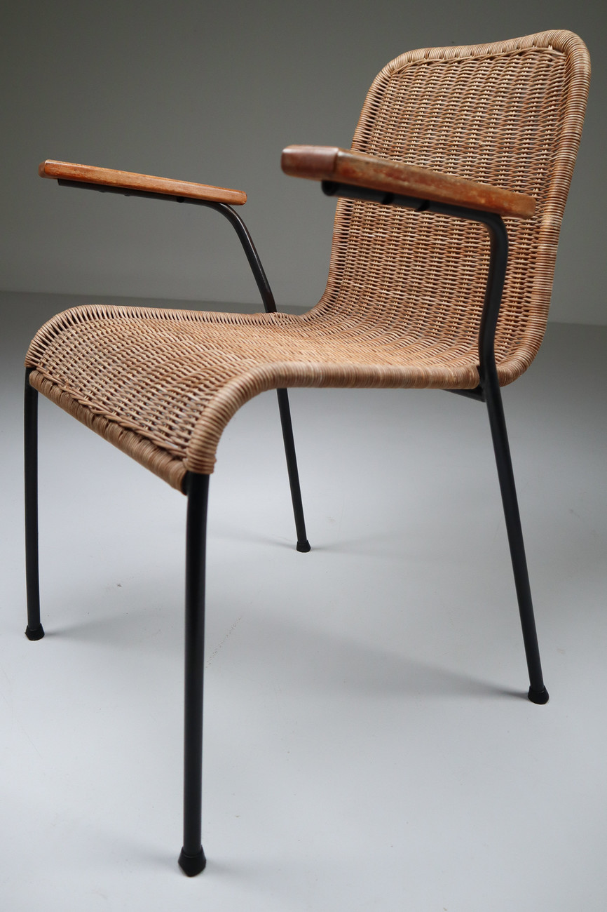 Patinated Metal Framed Armchairs With Woven Wicker Seat The Netherlands 1950 Mid 20th Century Davidowski Recent Added Items European Antiques Decorative